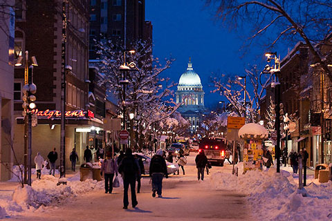 Winter in Madison, WI. A view of the Capital from State Street.