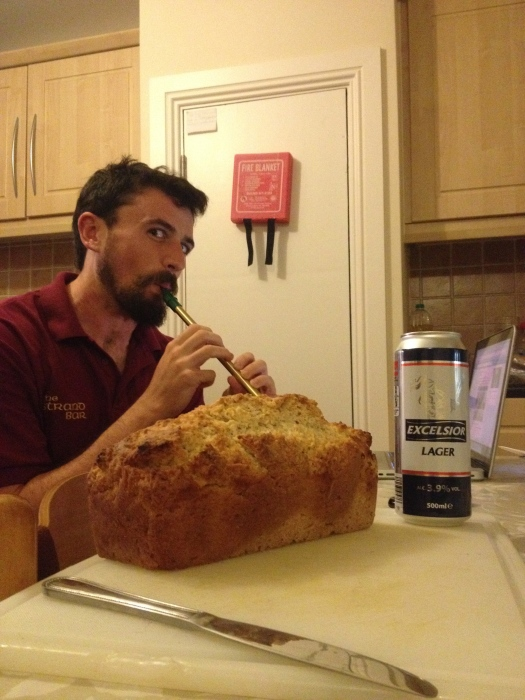 Because this is Ireland we commemorated the making of beer bread with penny whistling
